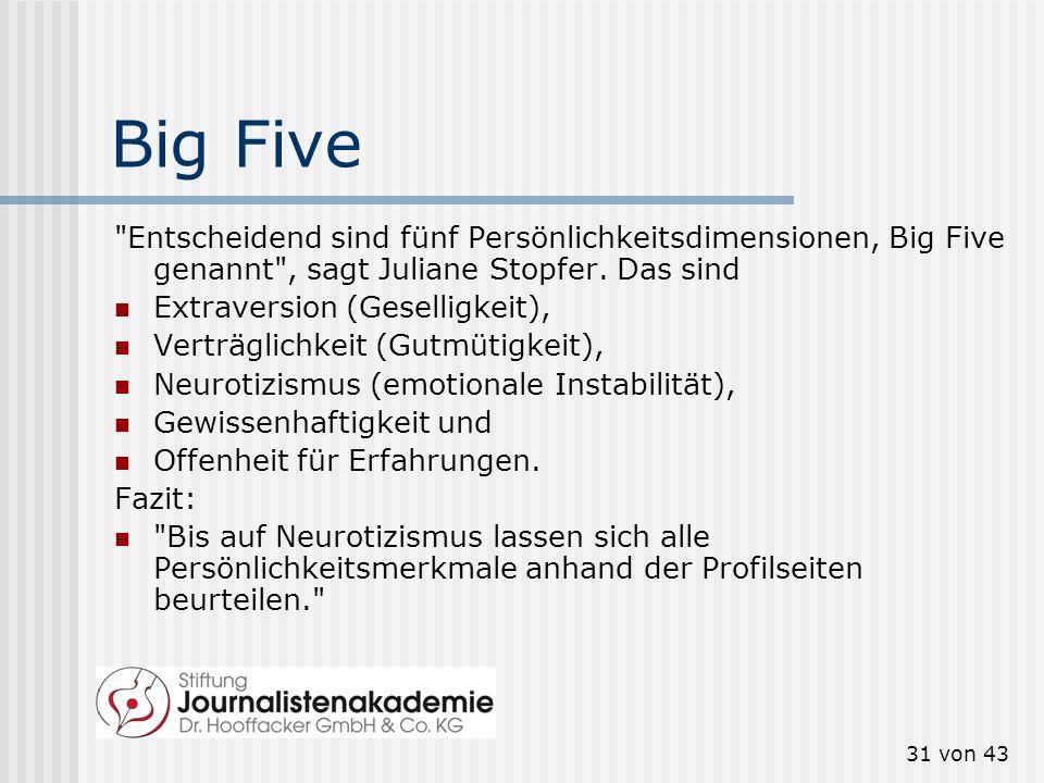 Big Five Entscheidend sind fünf Persönlichkeitsdimensionen, Big Five genannt , sagt Juliane Stopfer. Das sind.