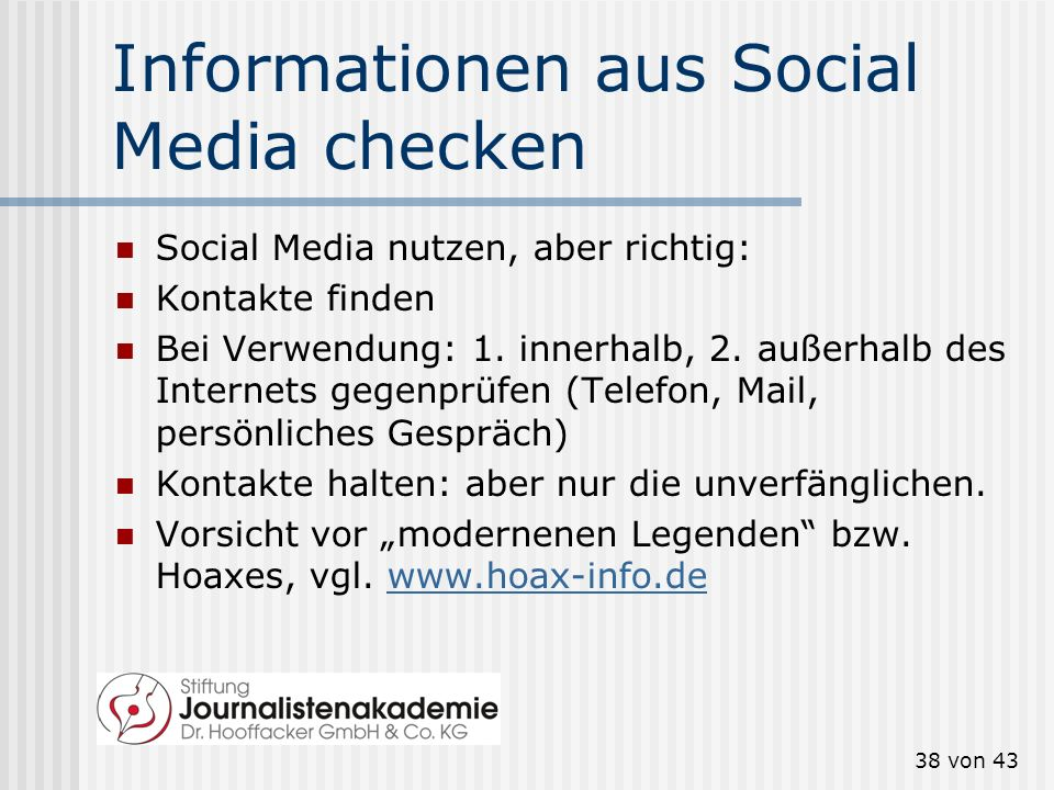Informationen aus Social Media checken