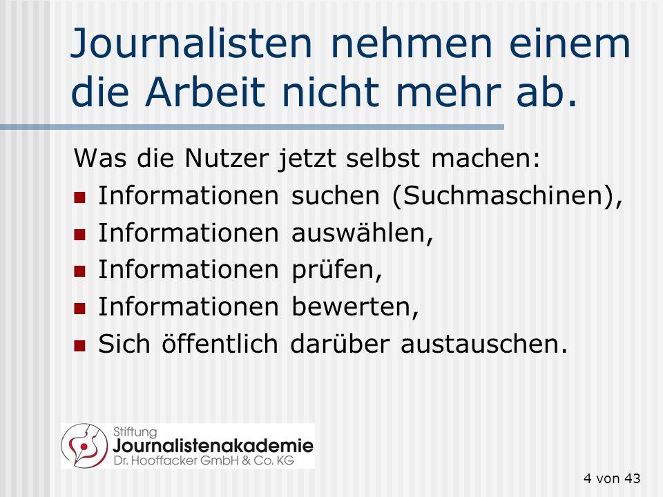 Journalisten nehmen einem die Arbeit nicht mehr ab.