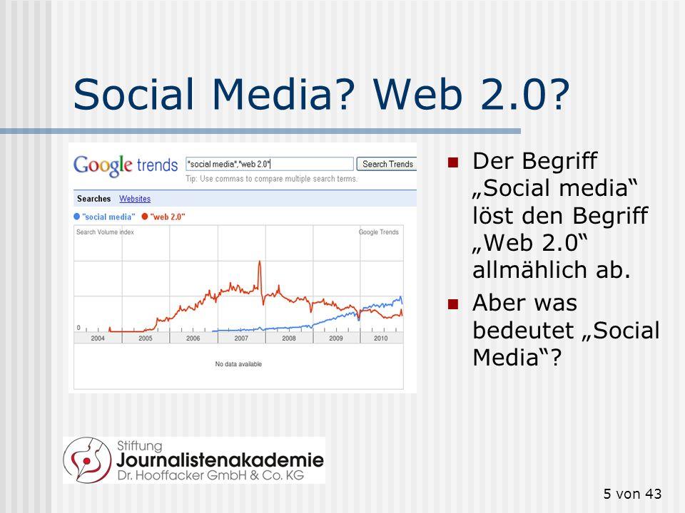 """Social Media. Web 2.0. Der Begriff """"Social media löst den Begriff """"Web 2.0 allmählich ab."""