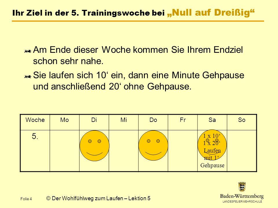 """Ihr Ziel in der 5. Trainingswoche bei """"Null auf Dreißig"""