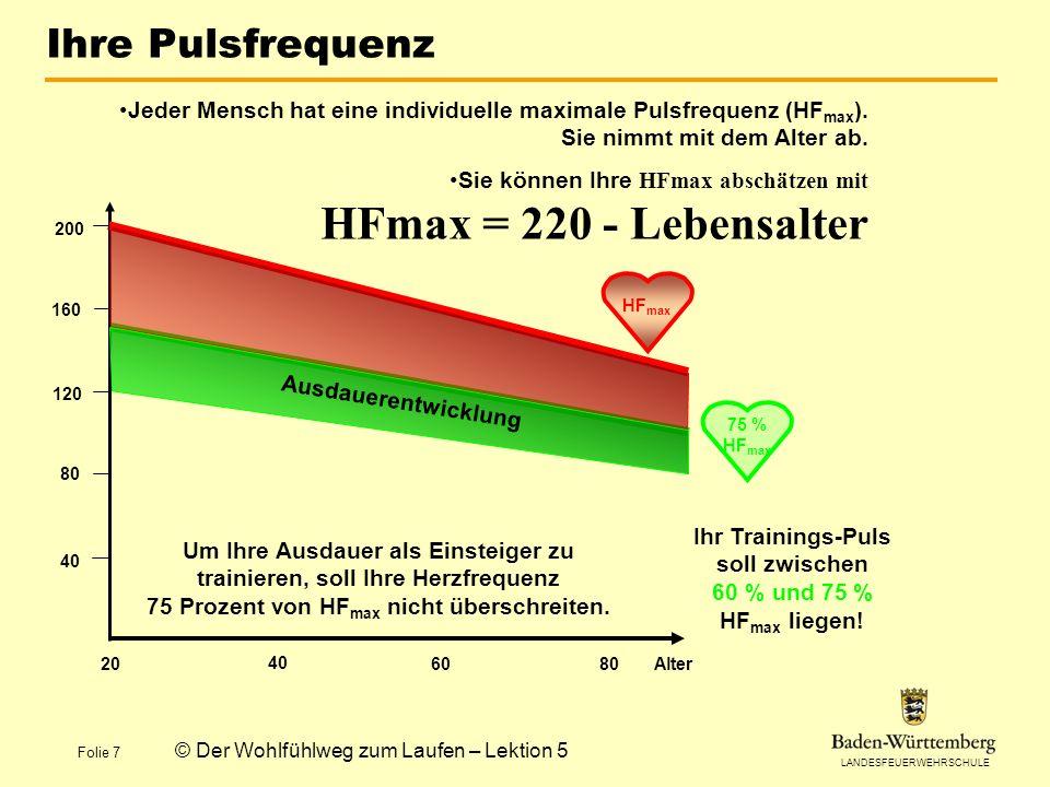 Ihr Trainings-Puls soll zwischen 60 % und 75 % HFmax liegen!