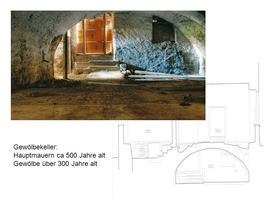 Gewölbekeller: Hauptmauern ca 500 Jahre alt Gewölbe über 300 Jahre alt