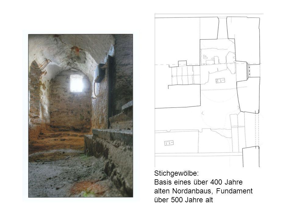 Stichgewölbe: Basis eines über 400 Jahre alten Nordanbaus, Fundament über 500 Jahre alt