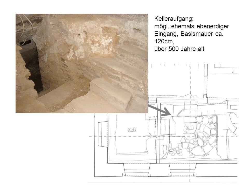 Kelleraufgang: mögl. ehemals ebenerdiger Eingang, Basismauer ca. 120cm, über 500 Jahre alt