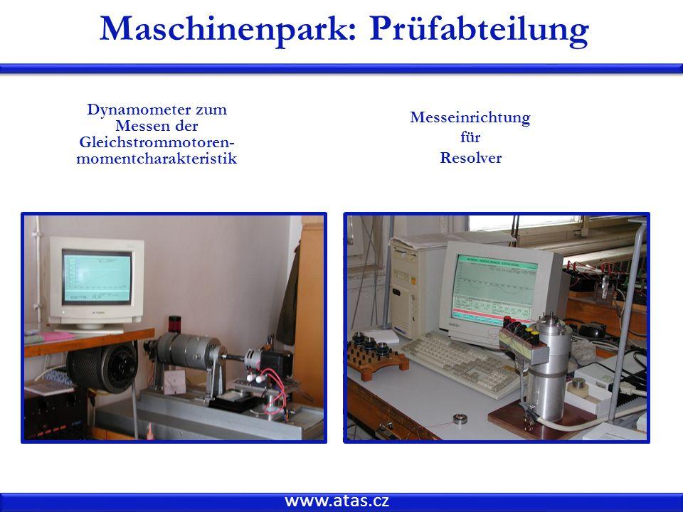 Maschinenpark: Prüfabteilung momentcharakteristik