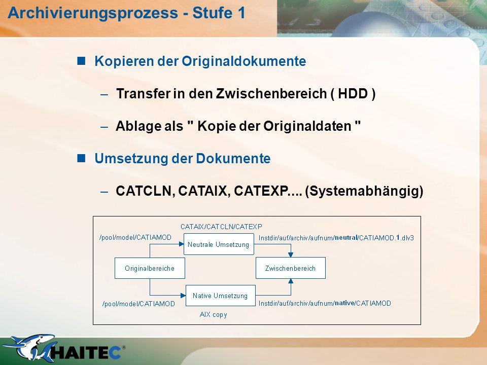 Archivierungsprozess - Stufe 1