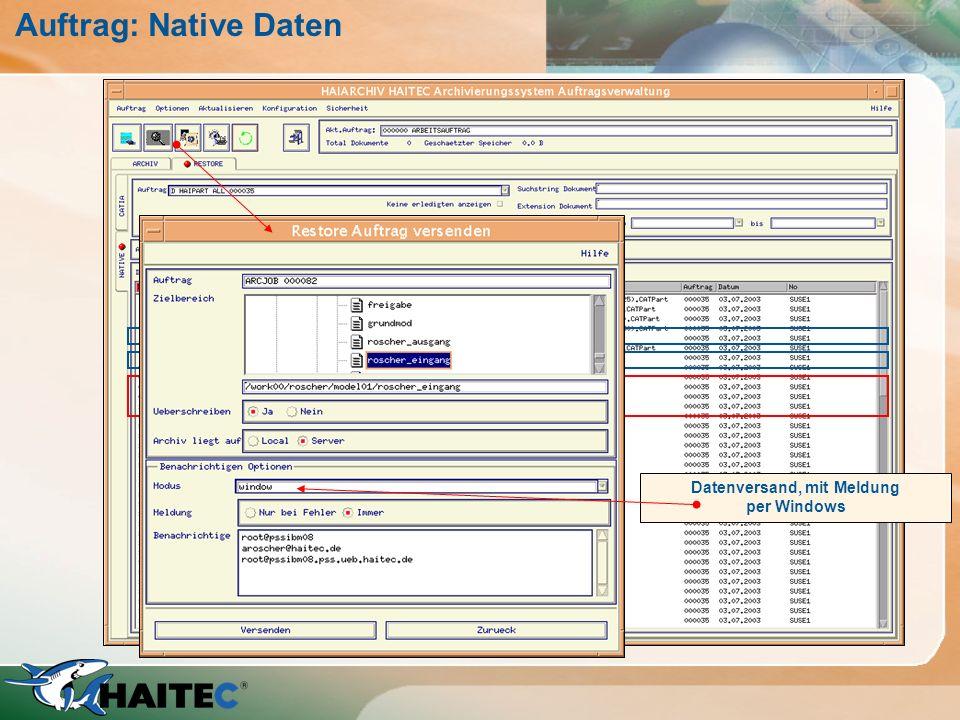 Datei oder Verzeichnis ! Datenversand, mit Meldung