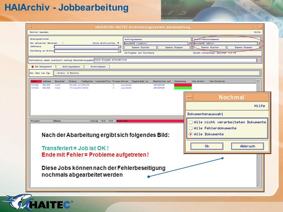 HAIArchiv - Jobbearbeitung