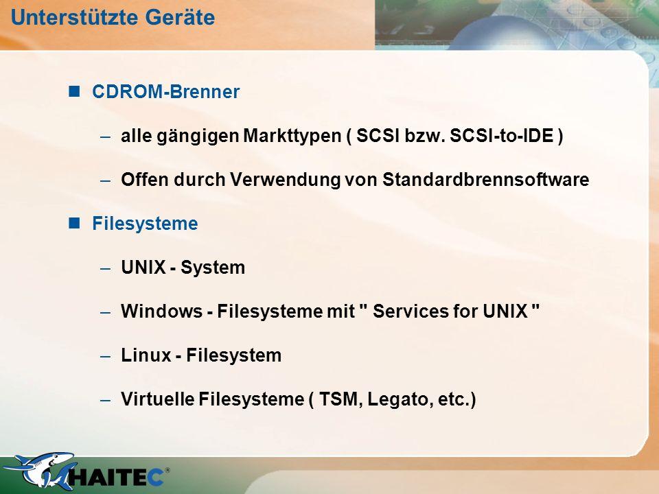 Unterstützte Geräte CDROM-Brenner