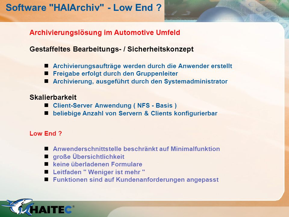 Software HAIArchiv - Low End