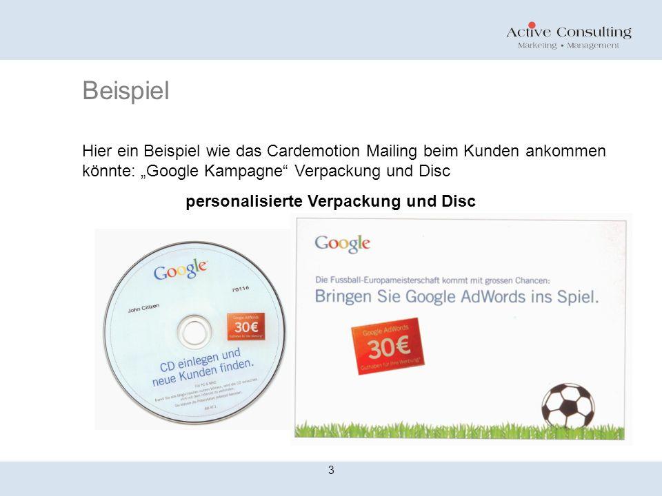 """Beispiel Hier ein Beispiel wie das Cardemotion Mailing beim Kunden ankommen könnte: """"Google Kampagne Verpackung und Disc."""