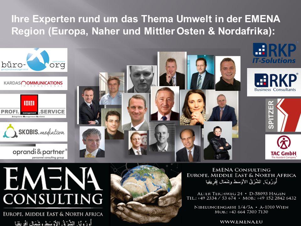 Ihre Experten rund um das Thema Umwelt in der EMENA Region (Europa, Naher und Mittler Osten & Nordafrika):