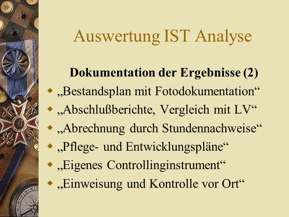 Auswertung IST Analyse