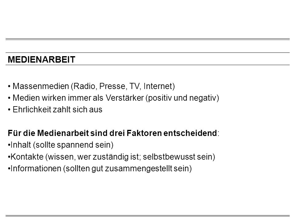 MEDIENARBEIT Massenmedien (Radio, Presse, TV, Internet)