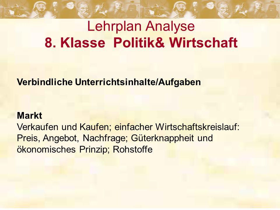 Lehrplan Analyse 8. Klasse Politik& Wirtschaft