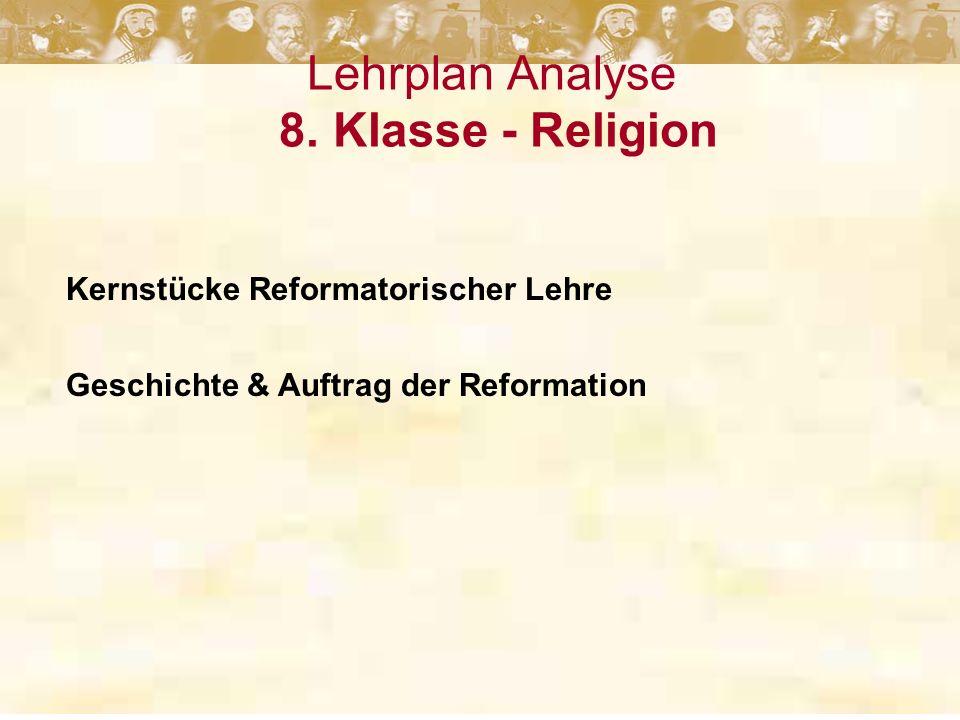 Lehrplan Analyse 8. Klasse - Religion