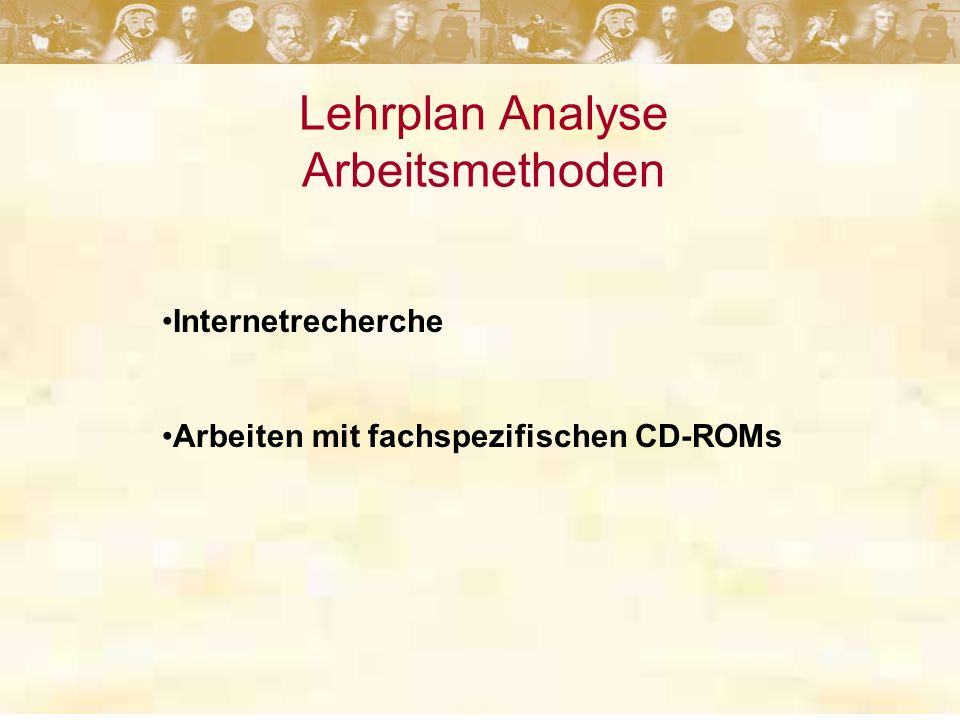 Lehrplan Analyse Arbeitsmethoden