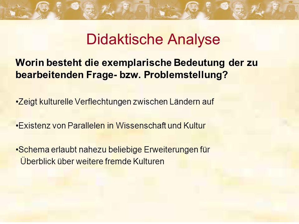 Didaktische Analyse Worin besteht die exemplarische Bedeutung der zu bearbeitenden Frage- bzw. Problemstellung