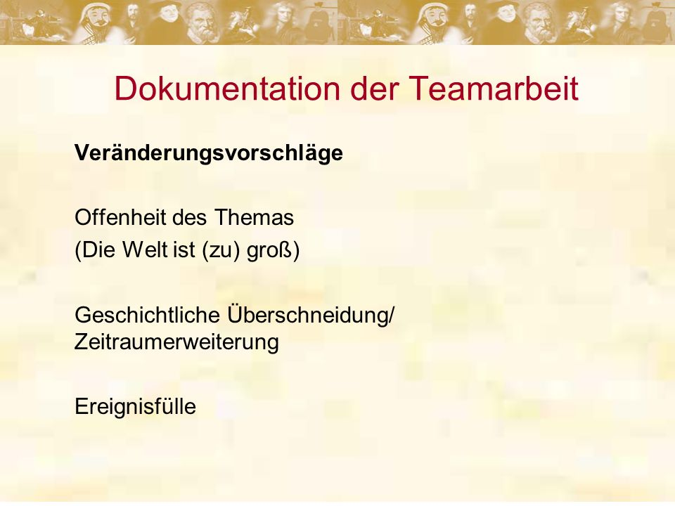 Dokumentation der Teamarbeit