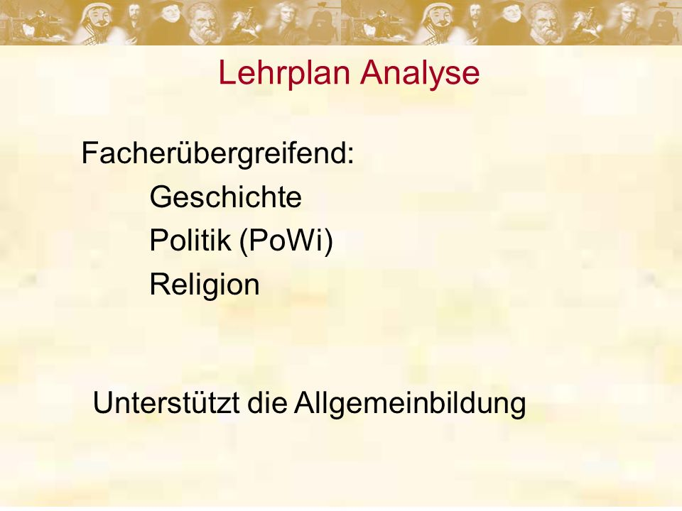Facherübergreifend: Geschichte Politik (PoWi) Religion