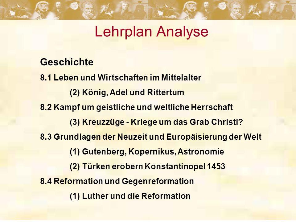 Lehrplan Analyse Geschichte 8.1 Leben und Wirtschaften im Mittelalter
