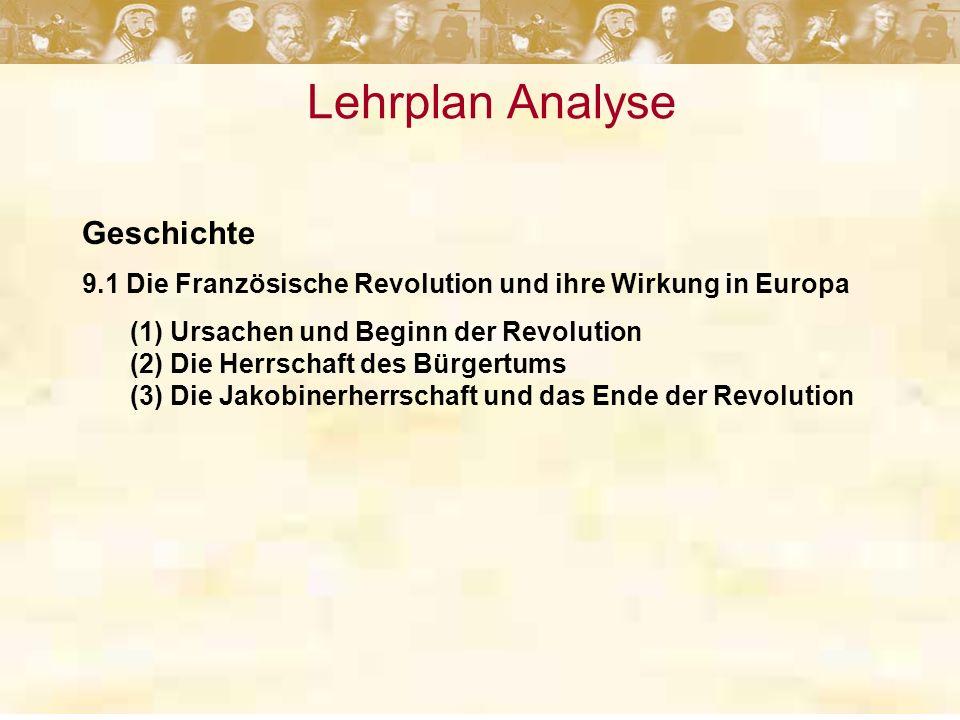 Lehrplan Analyse Geschichte