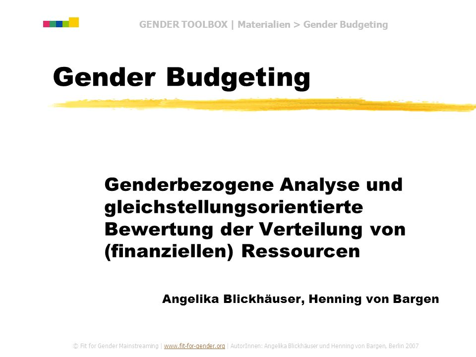 GENDER TOOLBOX | Materialien > Gender Budgeting