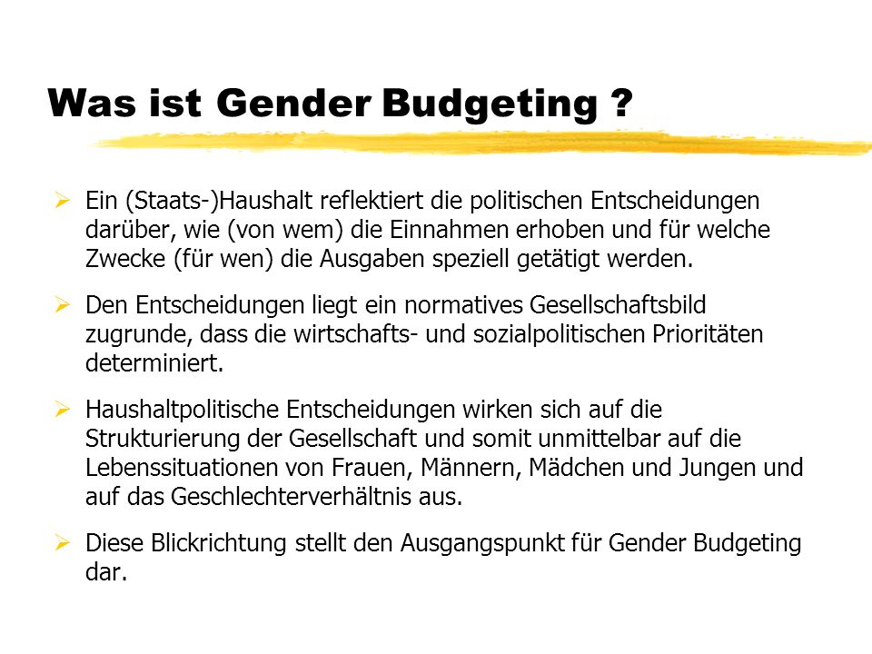 Was ist Gender Budgeting