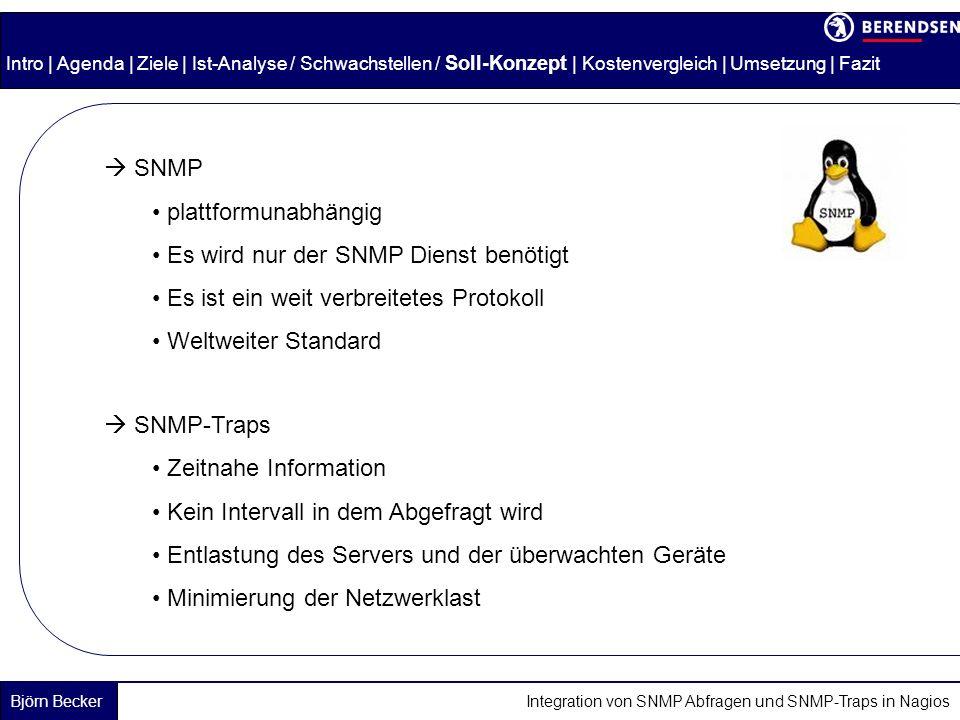 Es wird nur der SNMP Dienst benötigt