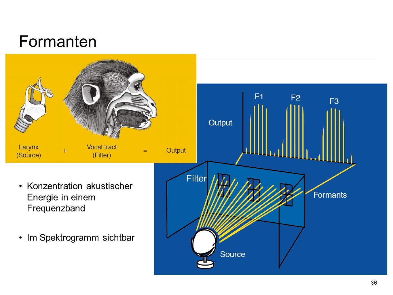 Formanten Filter Konzentration akustischer Energie in einem Frequenzband Im Spektrogramm sichtbar