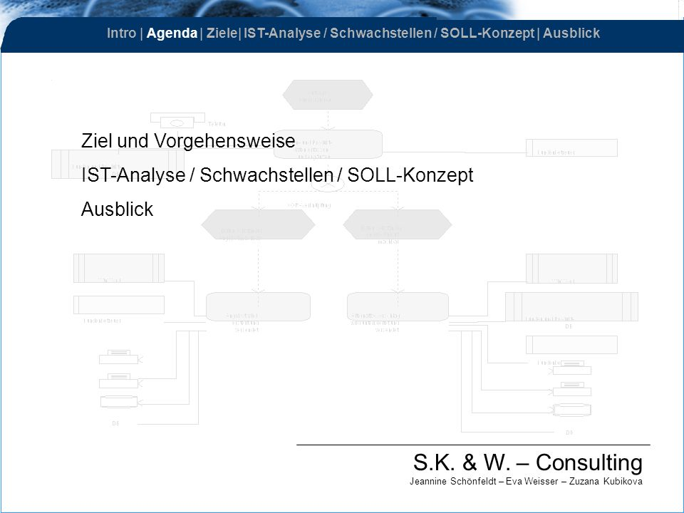 Ziel und Vorgehensweise IST-Analyse / Schwachstellen / SOLL-Konzept