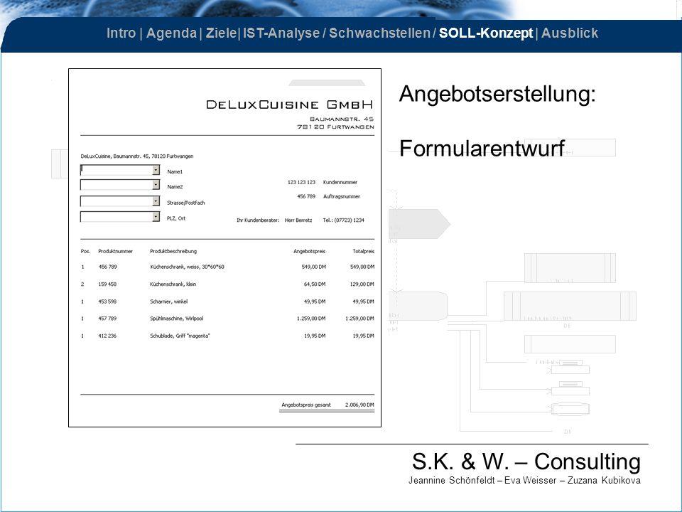 Angebotserstellung: Formularentwurf