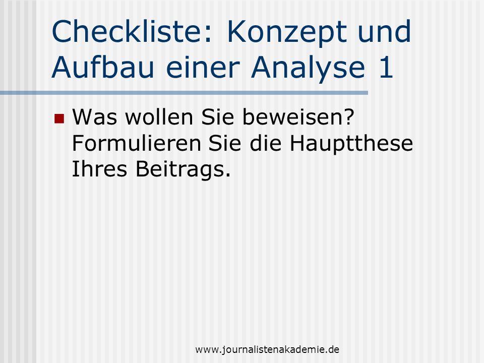 Checkliste: Konzept und Aufbau einer Analyse 1
