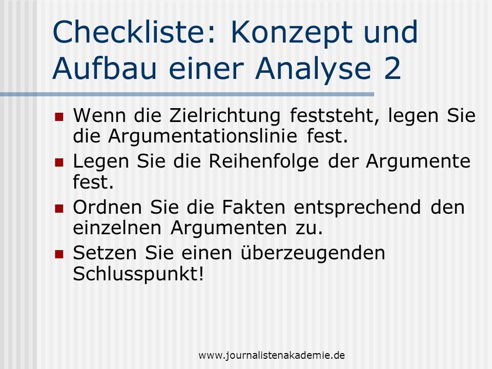 Checkliste: Konzept und Aufbau einer Analyse 2