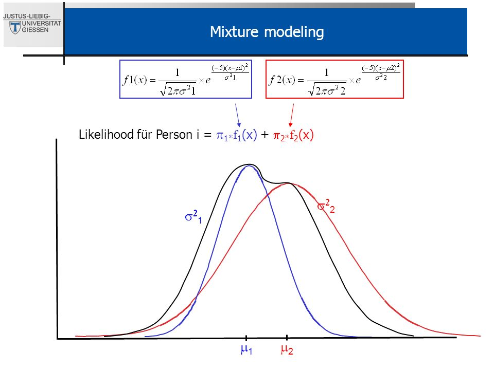 Mixture modeling Likelihood für Person i = p1*f1(x) + p2*f2(x) s22 s21 m1 m2