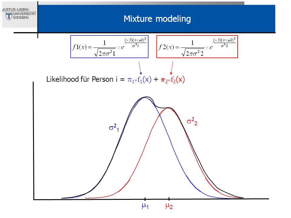 Mixture modeling Likelihood für Person i = p1*f1(x) + p2*f2(x) s22. s21.