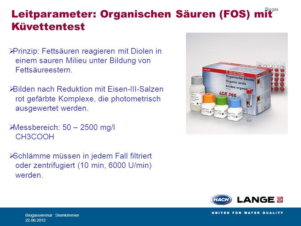 Leitparameter: Organischen Säuren (FOS) mit Küvettentest