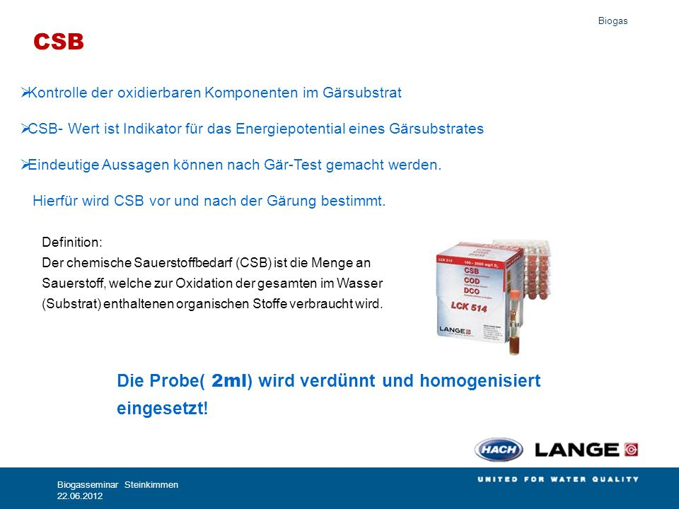 CSB Die Probe( 2ml) wird verdünnt und homogenisiert eingesetzt! 100%