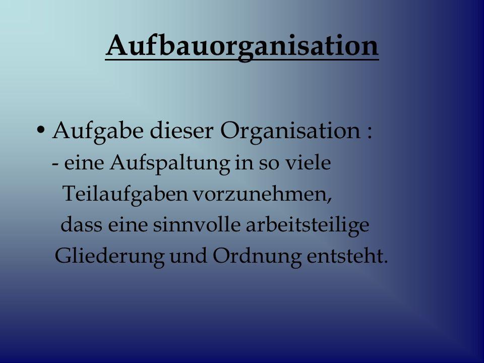 Aufbauorganisation Aufgabe dieser Organisation :