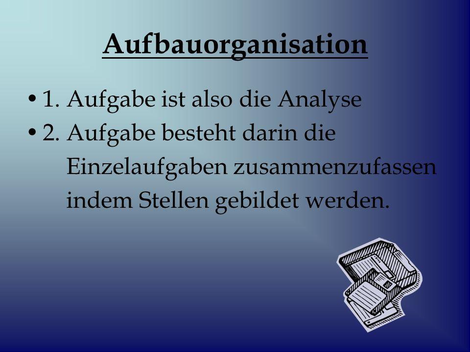 Aufbauorganisation 1. Aufgabe ist also die Analyse