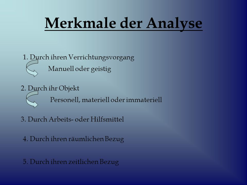 Merkmale der Analyse 1. Durch ihren Verrichtungsvorgang