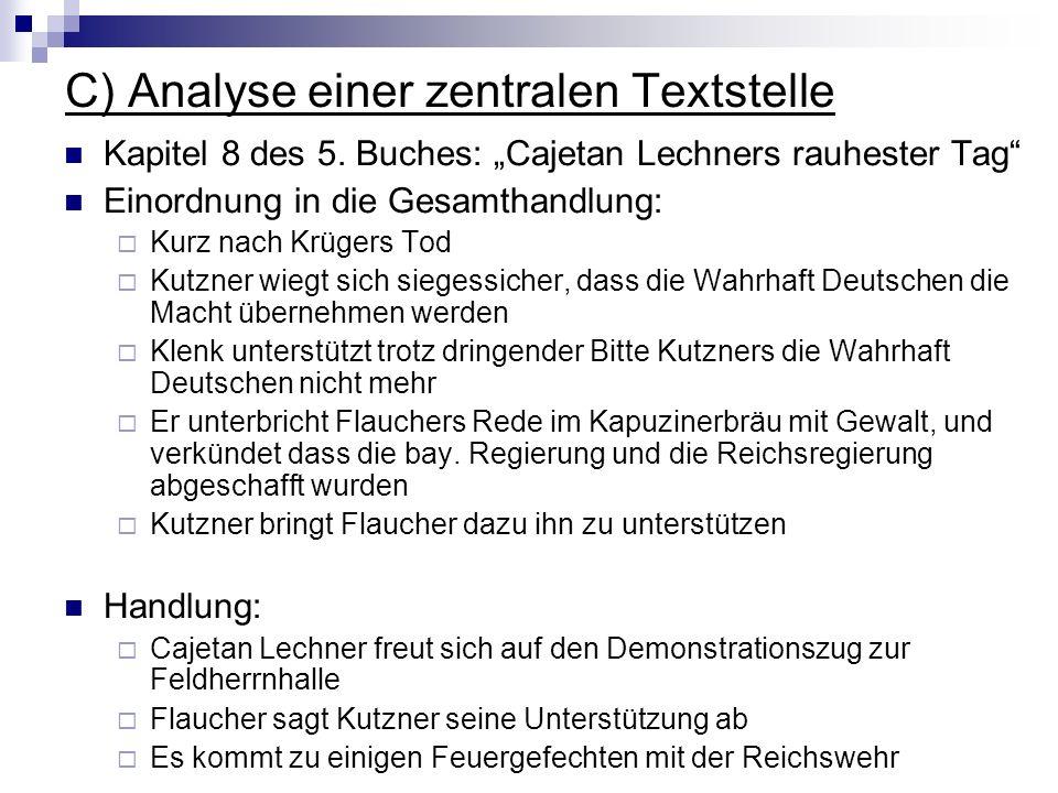 C) Analyse einer zentralen Textstelle