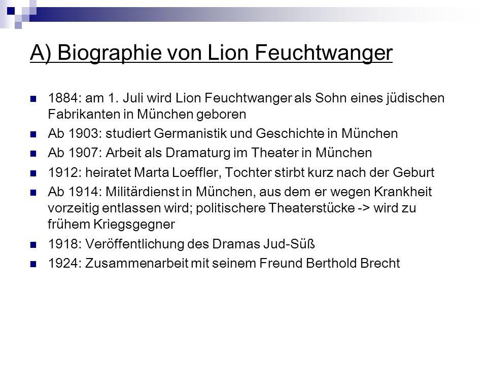 A) Biographie von Lion Feuchtwanger