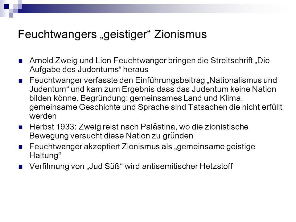 """Feuchtwangers """"geistiger Zionismus"""