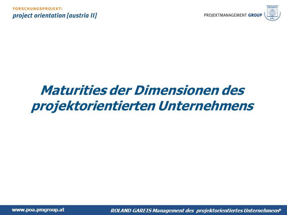 Maturities der Dimensionen des projektorientierten Unternehmens