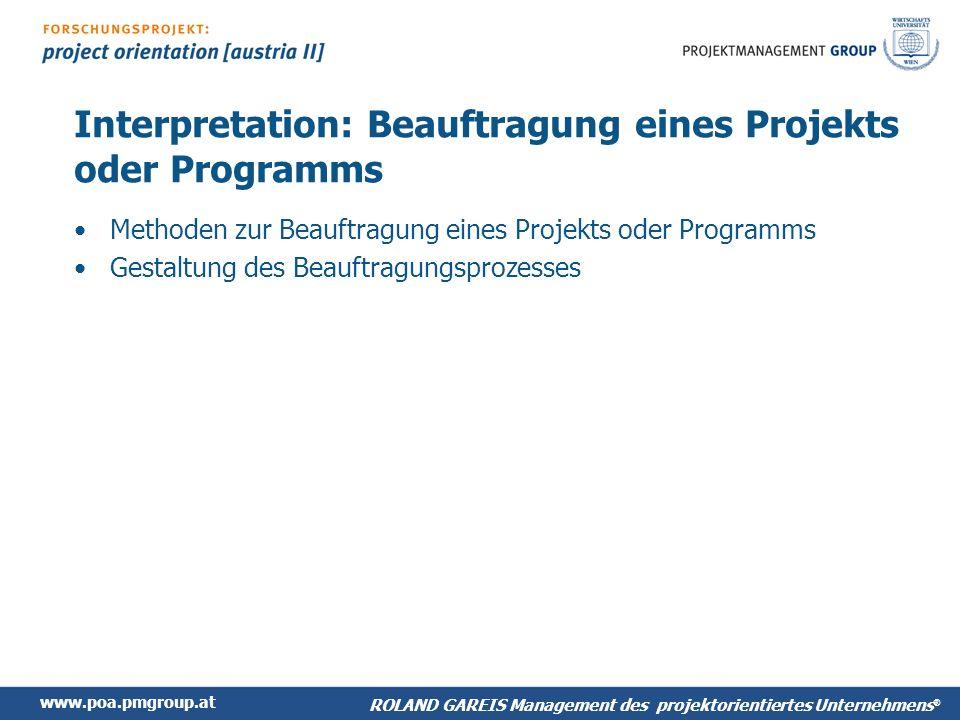 Interpretation: Beauftragung eines Projekts oder Programms