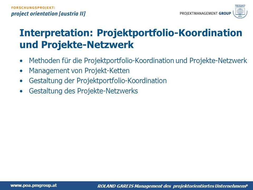 Interpretation: Projektportfolio-Koordination und Projekte-Netzwerk