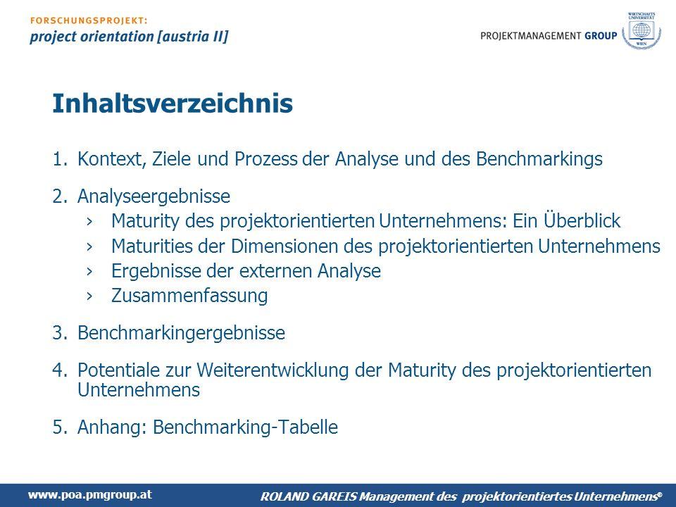 Inhaltsverzeichnis Kontext, Ziele und Prozess der Analyse und des Benchmarkings. Analyseergebnisse.