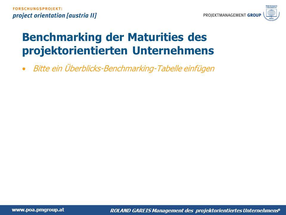 Benchmarking der Maturities des projektorientierten Unternehmens